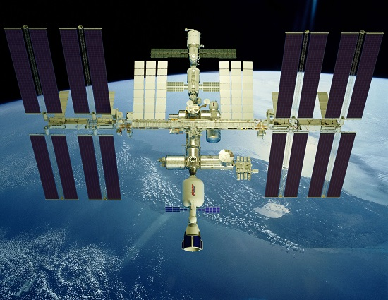 Concept image of Bigelow Aerospace's XBASE docked to the International Space Station. (Credit: Bigelow Aerospace)