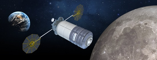 Concept image of Orbital ATK's cislunar habitat based, based on the design of the Cygnus spacecraft. (Credit: Orbital ATK)