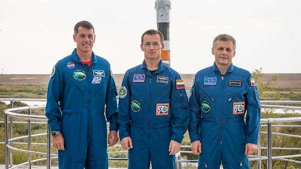 Expedition 49-50 crew members (from left) Shane Kimbrough, Sergey Ryzhikov and Andrey Borisenko.