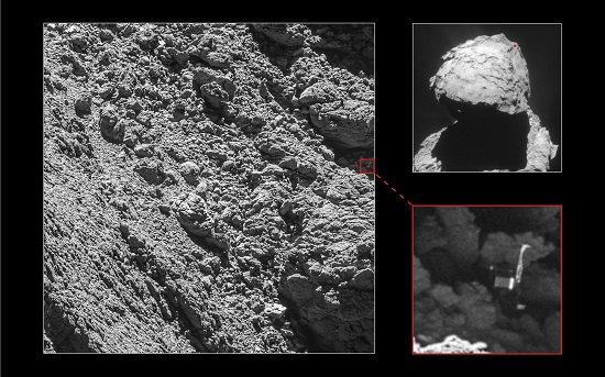 Rosetta's lander Philae has been identified in OSIRIS narrow-angle camera images taken on 2 September 2016 from a distance of 2.7 km. The image scale is about 5 cm/pixel. (Credit: Main image and lander inset: ESA/Rosetta/MPS for OSIRIS Team MPS/UPD/LAM/IAA/SSO/INTA/UPM/DASP/IDA; context: ESA/Rosetta/NavCam – CC BY-SA IGO 3.0)