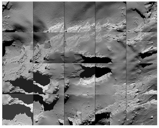 Sequence of images captured by Rosetta during its descent to the surface of Comet 67P/C-G on 30 September. (Credit: ESA/Rosetta/MPS for OSIRIS Team MPS/UPD/LAM/IAA/SSO/INTA/UPM/DASP/IDA)