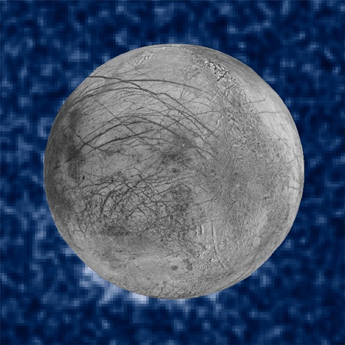 This composite image shows suspected plumes of water vapor erupting at the 7 o'clock position off the limb of Jupiter's moon Europa. The plumes, photographed by NASA's Hubble's Space Telescope Imaging Spectrograph, were seen in silhouette as the moon passed in front of Jupiter. Hubble's ultraviolet sensitivity allowed for the features -- rising over 100 miles (160 kilometers) above Europa's icy surface -- to be discerned. The water is believed to come from a subsurface ocean on Europa. The Hubble data were taken on January 26, 2014. The image of Europa, superimposed on the Hubble data, is assembled from data from the Galileo and Voyager missions. (Credits: NASA/ESA/W. Sparks (STScI)/USGS Astrogeology Science Center)