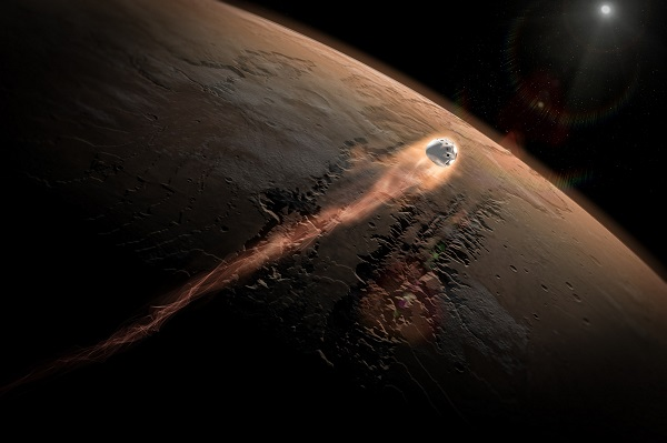 Red Dragon enters Mars atmosphere. (Credit: SpaceX)