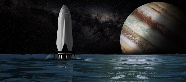 Interplanetary Transport System at Europa. (Credit: SpaceX)