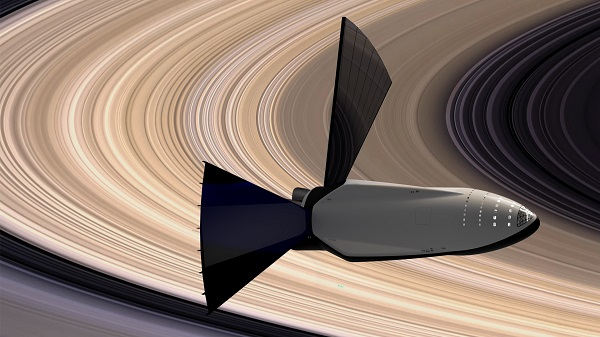 Int3erplanetary Transport System at Saturn. (Credit: SpaceX)