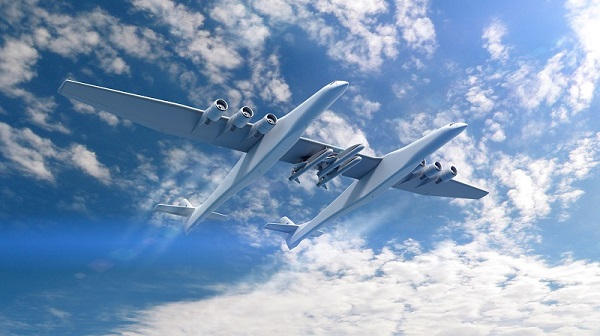 Conceptual rendering of the Stratolaunch Aircraft and the Orbital ATK Pegasus XL air-launch vehicles (Credit: Vulcan Aerospace)