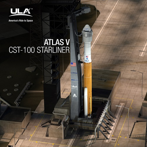 Atlas V CST-100 Starliner at Launch Complex 41. (Credit: ULA/Boeing)