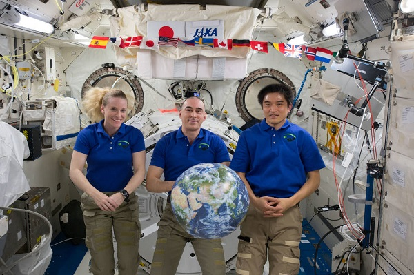 Expedition 49 crew members Kate Rubins of NASA, Anatoly Ivanishin of the Russian space agency Roscosmos and Takuya Onishi of the Japan Aerospace Exploration Agency are concluding a 115-day mission of science and research aboard the International Space Station and are set to return to Earth Oct. 29, 2016. (Credit: NASA)