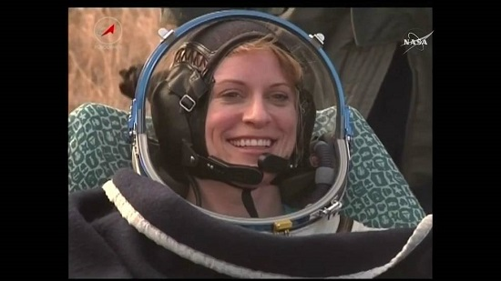 Kate Rubins after her return to Earth. (Credit: NASA TV)