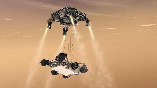An artist's concept of the 2012 Mars Curiosity Landing. Mars 2020 will use a nearly identical landing system, but with added precision from the Lander Vision System. (Credits: NASA Image /JPL-Caltech)