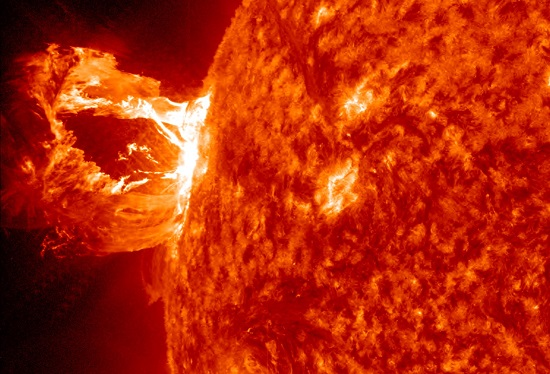 Solar flare and Coronal Mass Ejection from the NASA Solar Dynamics Observatory.  (Credit: NASA).