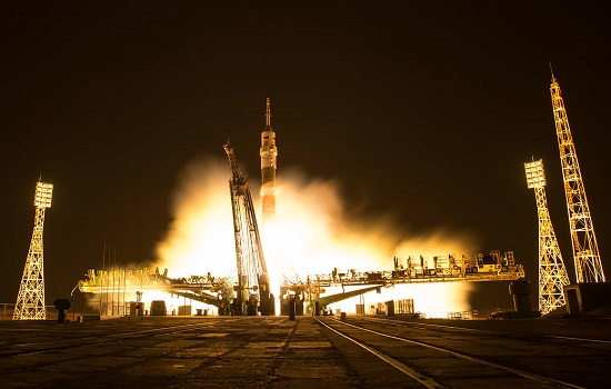 In this one second exposure photograph, the Soyuz MS-03 spacecraft is seen launching from the Baikonur Cosmodrome. (Credit: NASA/Bill Ingalls)