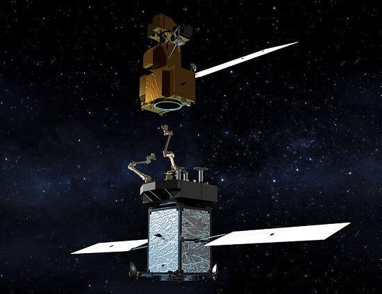 Artist's conception of Restore-L servicing satellite with Landsat 7. (Credit: NASA)