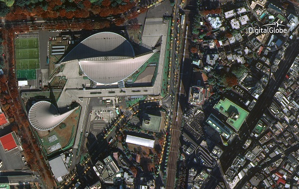 WorldView-4's first public image, taken on November 26, features the Yoyogi National Gymnasium in Shibuya, Tokyo. The site hosted events during the 1964 Olympic Games and will again host international competition when the games return to Tokyo in 2020. (Credit: DigitalGlobe)