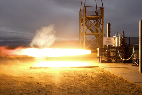 Image of Vector's successful December 8th 2016, 1st stage engine test with a 3D printed injector jointly developed with NASA on flight fuels of propylene and liquid oxygen. (Credit: Vector Space Systems)