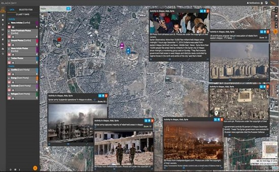 The BlackSky platform helps customers observe, analyze, and act on events critical to their global operations. The picture above shows civilian evacuations in Aleppo Syria with real-time, related social media data streams from the area to provide greater context. (Credit: Spaceflight Industries)