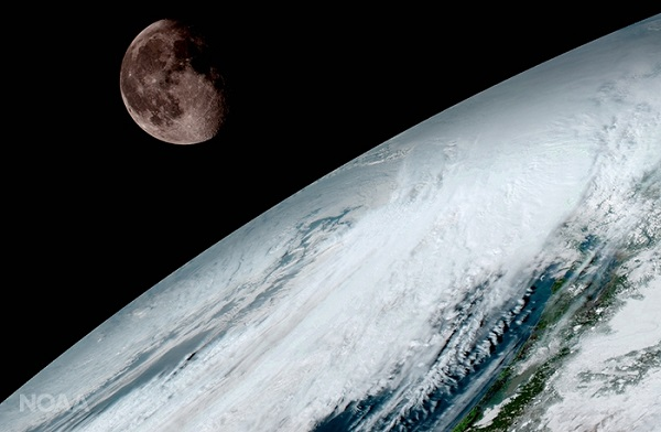 GOES-16 captured this view of the moon as it looked above the surface of the Earth on January 15. Like earlier GOES satellites, GOES-16 will use the moon for calibration. (Credits: NOAA/NASA)
