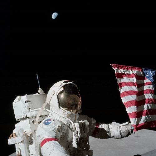 Gene Cernan on the moon. (Credit: NASA)