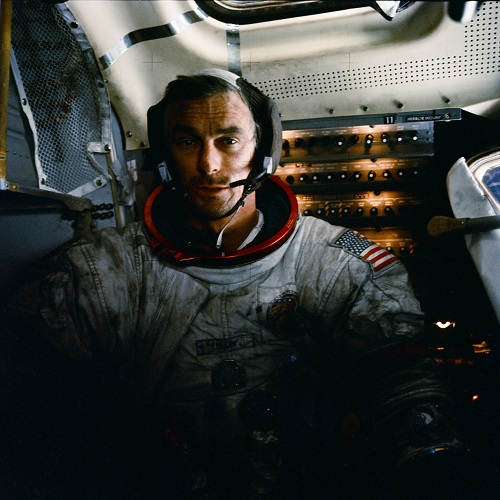 Gene Cernan in t he lunar module Challenger during Apollo 17. (Credit: NASA)