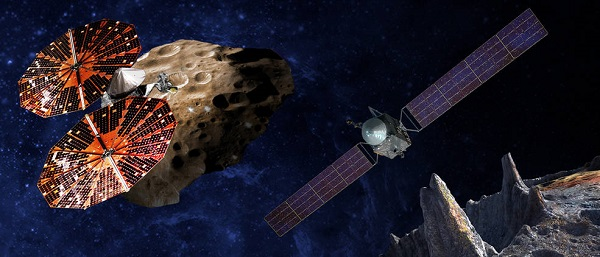 An artist's conception of the Lucy spacecraft (lef) flying by the Trojan Eurybates – one of the six diverse and scientifically important Trojans to be studied. Trojans are fossils of planet formation and so will supply important clues to the earliest history of the solar system.  (Right) Psyche, the first mission to the metal world 16 Psyche will map features, structure, composition, and magnetic field, and examine a landscape unlike anything explored before. Psyche will teach us about the hidden cores of the Earth, Mars, Mercury and Venus. (Credit: SwRI, SSL/Peter Rubin)