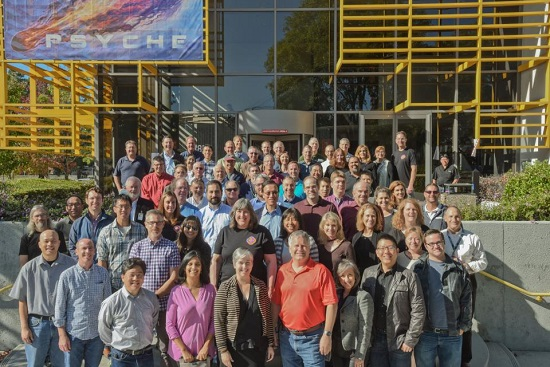 The Psyche mission team at Space System Loral in Palo Alto, California. (Credit: SSL)